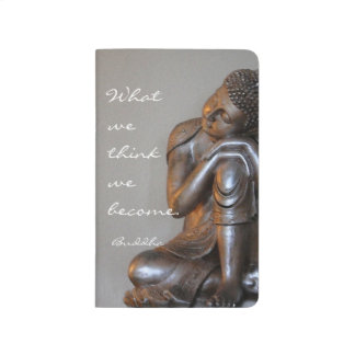 Peaceful silver Buddha with inspirational quote Journal