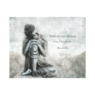 Peaceful Silver Buddha with Wisdom Quote Canvas Print