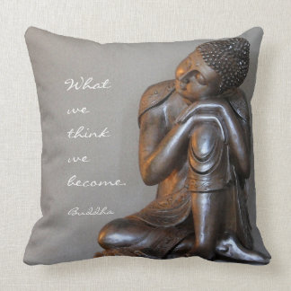 Peaceful silver Buddha with words of wisdom Throw Pillow