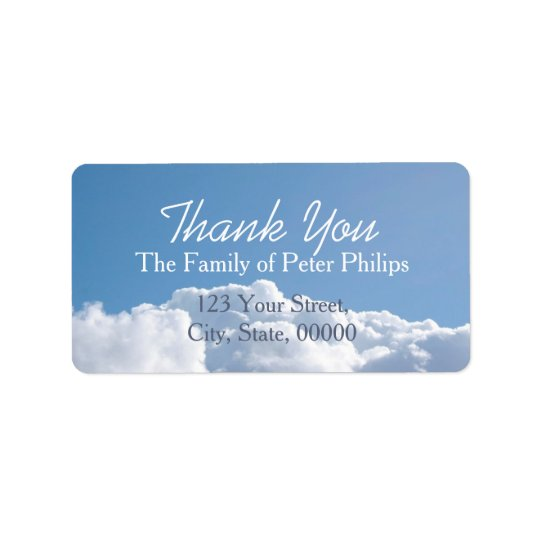Peaceful Sky 1 Family Thank You Address Label