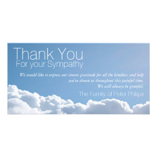 Peaceful Sky 2 Sympathy Thank You Photo Card