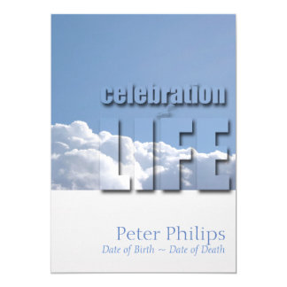 Peaceful Sky Modern Celebration of Life Invitation