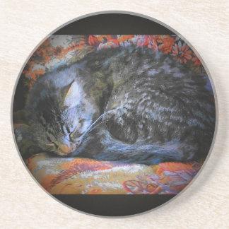 Peaceful Sleeping Cat Beverage Coaster