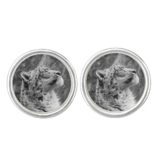 Peaceful Snow Leopard Cufflinks