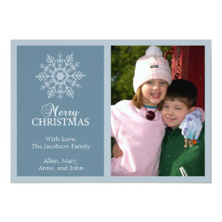 "Peaceful Snowflake Christmas Card (Blue Gray) 5"" X 7"" Invitation Card"