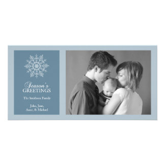 Peaceful Snowflake Christmas Photo Card Blue Gray