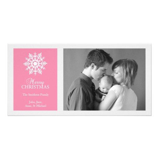 Peaceful Snowflake Christmas Photo Card Dark Pink