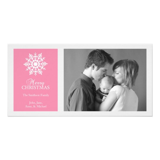 Peaceful Snowflake Christmas Photo Card Dark Pink