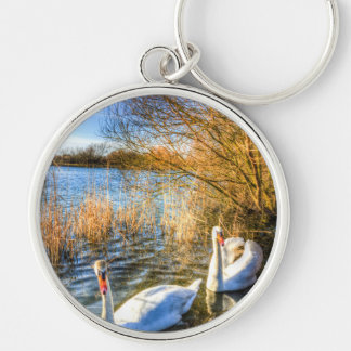 Peaceful Swans Silver-Colored Round Key Ring