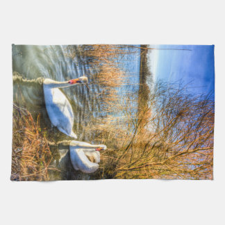 Peaceful Swans Tea Towel