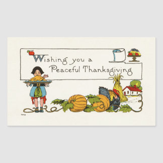 Peaceful Thanksgiving Rectangle Stickers