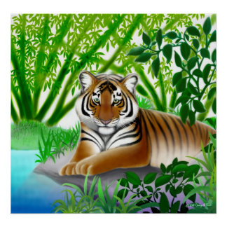 Peaceful Tiger in Bamboo Jungle Poster