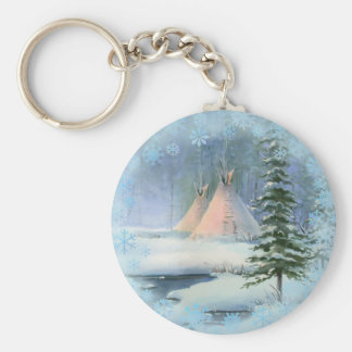 PEACEFUL TIPI & SNOWFLAKES by SHARON SHARPE Basic Round Button Key Ring