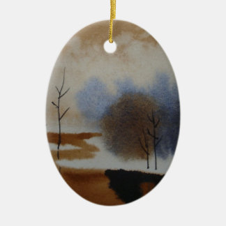 Peaceful Watercolor Winter Snow Scene Hand Painted Christmas Tree Ornament