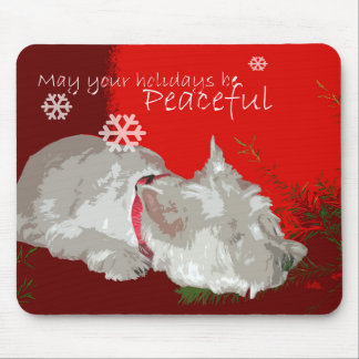 PEACEFUL WESTIE HOLIDAYS MOUSE PAD