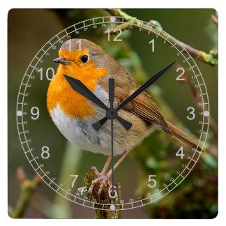 Peaceful Winter Robin Square Wall Clock