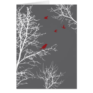 Peaceful Winter Silhouette Trees and Birds Card