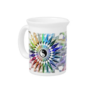 Peaceful Yin Yang Zen Yoga Colorful Meditation Tao Pitcher