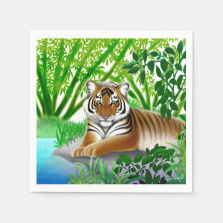 Peaceful Young Tiger in Jungle Paper Napkins