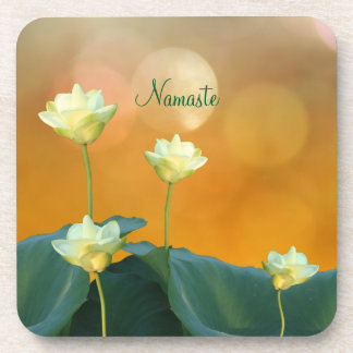 Peaceful Zen White Lotus Flowers Namaste Yoga Drink Coaster