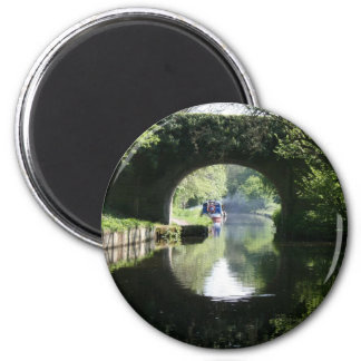 Peacefulness Blue Boat Llangollen Canal 6 Cm Round Magnet
