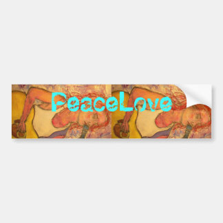 PeaceLove acoustic girl Bumper Sticker