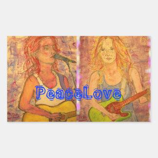 PeaceLove Guitar Girls Rectangular Sticker