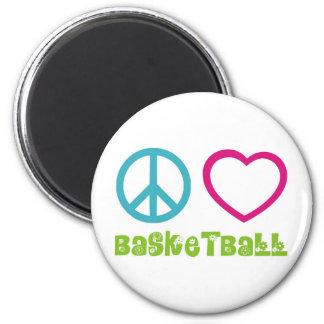 PEACELOVEsymbols-basketball. 6 Cm Round Magnet