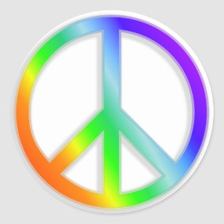 peacenik cnd symbol in rainbow color classic round sticker
