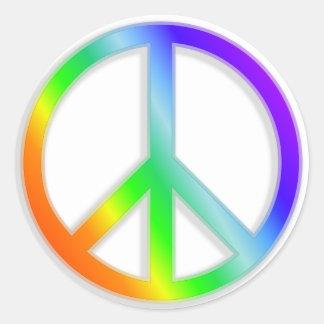 peacenik cnd symbol in rainbow color round sticker