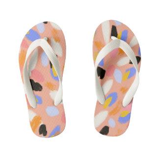 peach abstract kid's flip flops