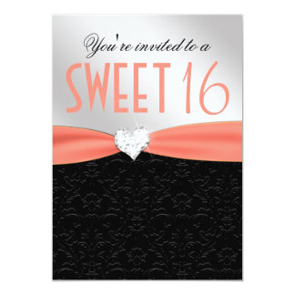 Peach and Black Floral Damask Diamond Heart 13 Cm X 18 Cm Invitation Card