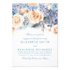Peach and Blue Floral Watercolors Engagement Party Card