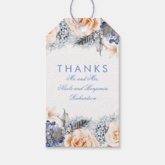 Peach and Blue Flowers Elegant Wedding Gift Tags