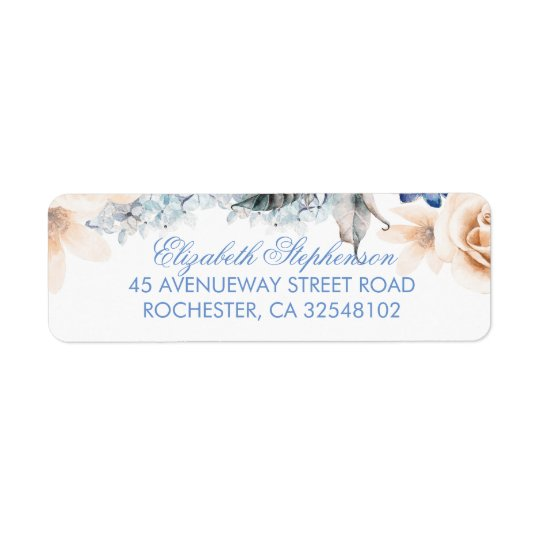 Peach and Blue Flowers Elegant Wedding Return Address Label