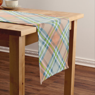 peach and blue with lime tartan plaid short table runner