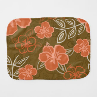 Peach and Brown Hawaiian Hibiscus Pattern Burp Cloth