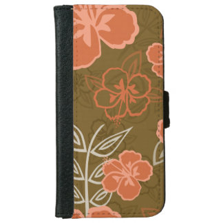 Peach and Brown Hawaiian Hibiscus Pattern iPhone 6 Wallet Case