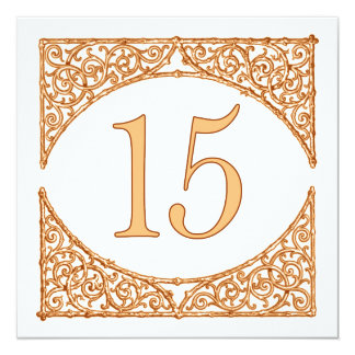 Peach and Brown Wood Screen Table Number 15 13 Cm X 13 Cm Square Invitation Card
