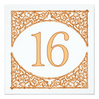 Peach and Brown Wood Screen Table Number 16 13 Cm X 13 Cm Square Invitation Card