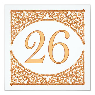 Peach and Brown Wood Screen Table Number 26 13 Cm X 13 Cm Square Invitation Card
