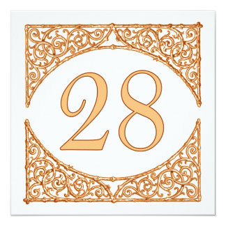 Peach and Brown Wood Screen Table Number 28 13 Cm X 13 Cm Square Invitation Card