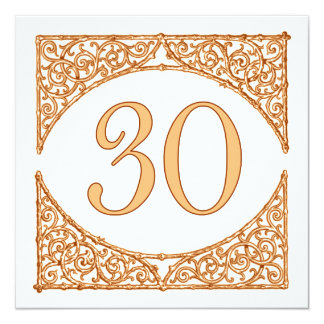 Peach and Brown Wood Screen Table Number 30 13 Cm X 13 Cm Square Invitation Card