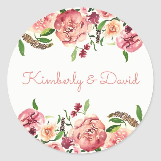 Peach and Coral Flowers Floral Wedding Classic Round