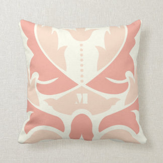 Peach and Coral Modern Damask Pillow
