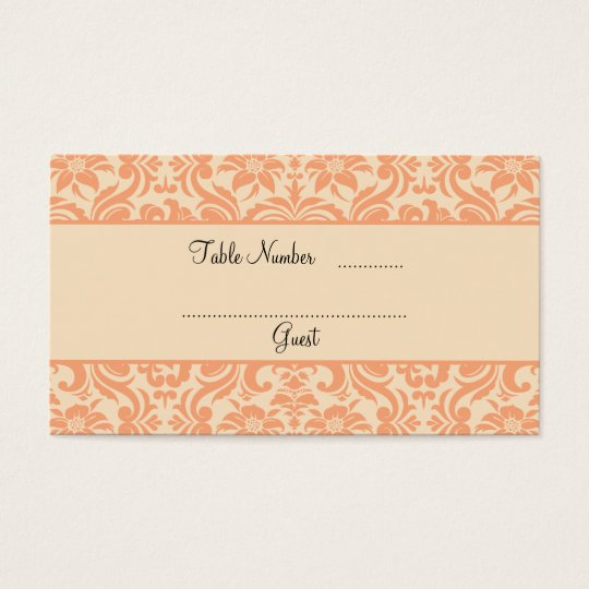 Peach and Cream Damask Wedding Table Place Cards