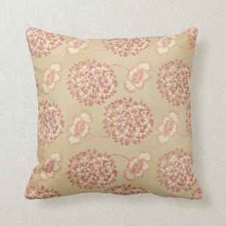 Peach and Cream Flower Pattern Throw Pillow