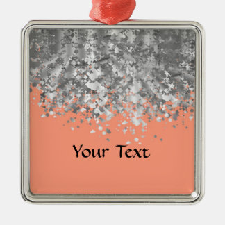 Peach and faux glitter personalized christmas ornament