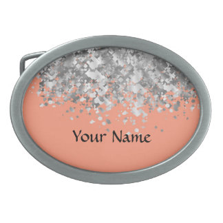 Peach and faux glitter personalized oval belt buckles