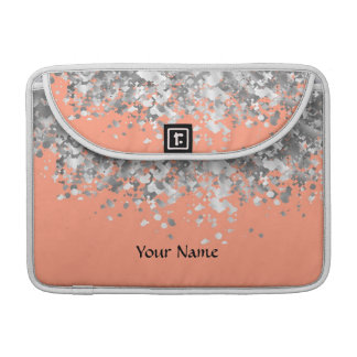 Peach and faux glitter personalized sleeve for MacBook pro
